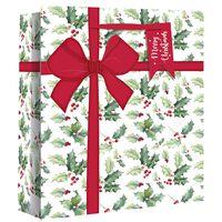 Wide Gusset Holly Parcel Gift Bag