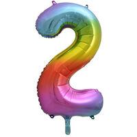 34 Inch Rainbow Number 2 Helium Balloon