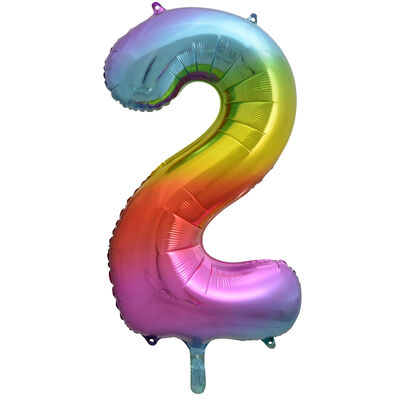 34 Inch Rainbow Number 2 Helium Balloon image number 1