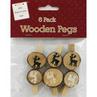 Wooden Christmas Pegs - 6 Pack image number 1