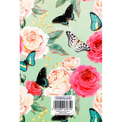 A5 Soft Cover Floral Butterfly Plain Notebook image number 3