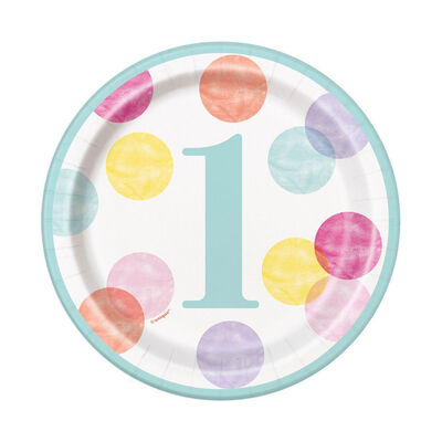Multi 1st Birthday Small Paper Plates - 8 Pack image number 1