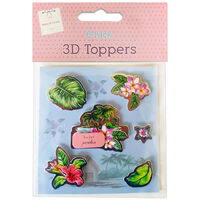 3D Tropical Toppers: Pack of 6