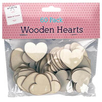 60 Wooden Hearts