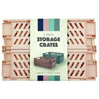 Grey and Pink Foldable Storage Crates: Pack of 2
