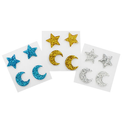 Glitter Star and Moon Embellishments - 12 Pack image number 1