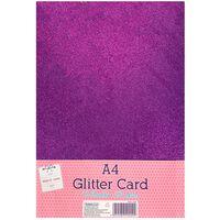 A4 Amaranth Purple Glitter Card: Pack of 10