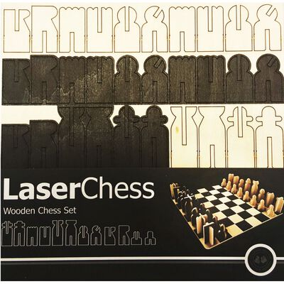 Wooden Laser Cut Chess Set image number 1