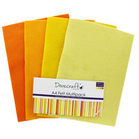 Yellow And Orange A4 Felt Sheets - Pack Of 8