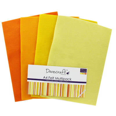 Yellow And Orange A4 Felt Sheets - Pack Of 8 image number 1