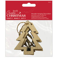 Christmas Tree Wooden Hanging Decoration: Pack of 4