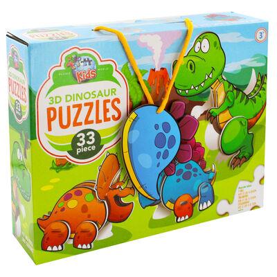 3D Dinosaurs 33 Piece Puzzle image number 1