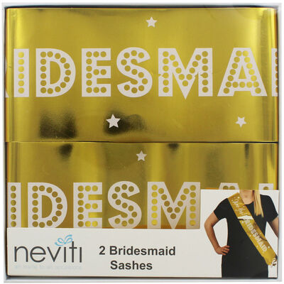 Gold Hen Do Bridesmaid Sashes - 2 Pack image number 1