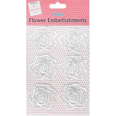 White Flower Embellishments Pack of 6 image number 1