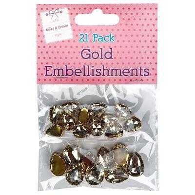 Gold Gem Embellishments - 21 Pack image number 1