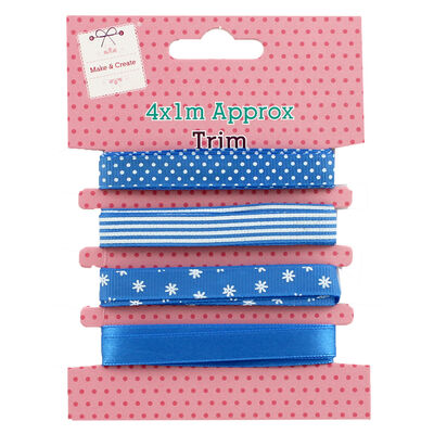 4 x 1m Pastel Ribbon Trims - Assorted image number 2