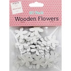 60 Wooden Flowers - White image number 1