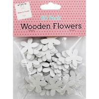 60 Wooden Flowers - White