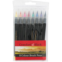 Crawford and Black Brush Pens - Pack Of 8