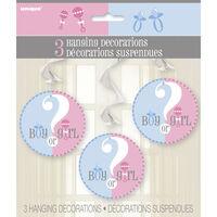 3 Gender Reveal Hanging Swirl Decorations
