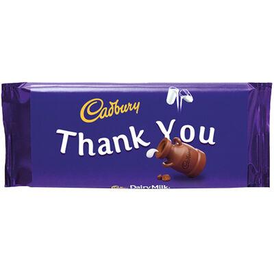 Cadbury Dairy Milk Chocolate Bar 110g - Thank You image number 1