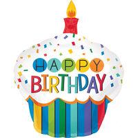 22 Inch Birthday Cupcake Super Shape Helium Balloon