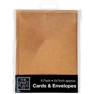 6 Kraft Cards and Envelopes - 5 x 7 Inches image number 1