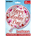 18 Inch Red Pink Happy Valentines Day Heart Helium Balloon image number 1
