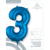 34 Inch Blue Number 3 Helium Balloon
