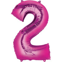 34 Inch Pink Number 2 Helium Balloon