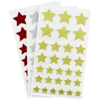 Festive Coloured Glitter Star Stickers: 90 Pack