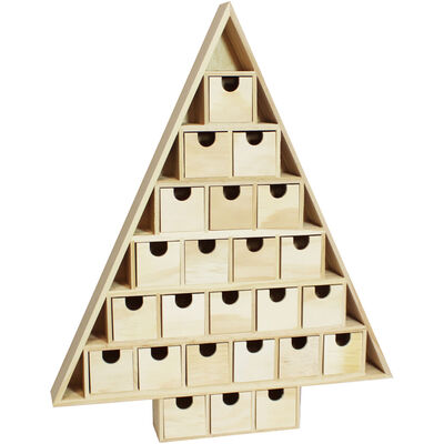 Wooden Christmas Tree Advent Calendar image number 1