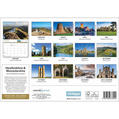 Hereford And Worcestershire 2020 A4 Wall Calendar image number 2