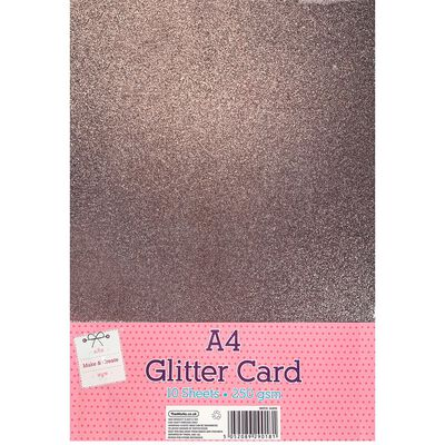 A4 Rose Pink Glitter Card: Pack of 10 image number 1