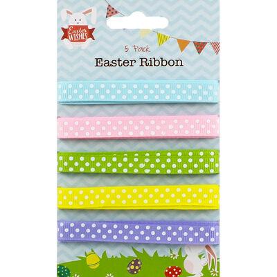 Pastel Polka Dot Easter Ribbon - 5 Pack image number 1