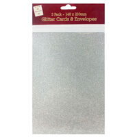 A5 Silver Glitter Cards and Envelopes: Pack of 3