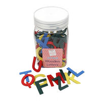 Multi-Coloured Wooden Letters in Tub: Pack of 136