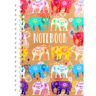 A5 Wiro Bright Elephants Notebook image number 1