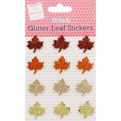 Glitter Leaf Stickers - 12 Pack image number 1