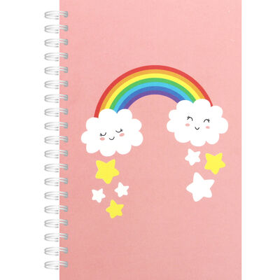A6 Pink Rainbow Lined Notebook image number 1