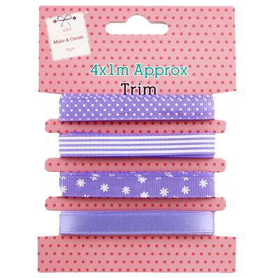 4 x 1m Pastel Ribbon Trims - Assorted image number 1