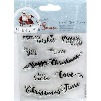 At Home with Santa Sentiments Clear Stamp Set image number 1