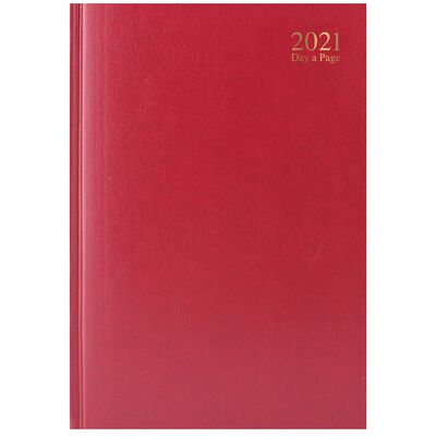 A4 Red 2021 Day a Page Diary image number 1