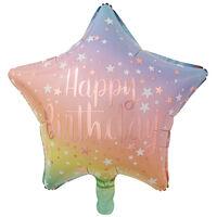 19 Inch Happy Birthday Star Helium Balloon