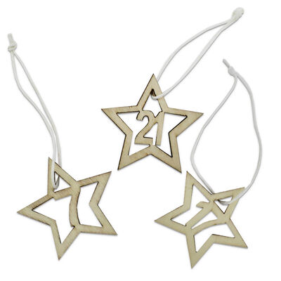 Wooden Hanging Advent Number Stars: Pack of 24 image number 2
