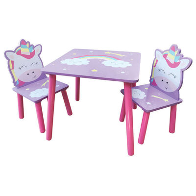 Magical Unicorn Wooden Table and Chairs Set image number 1