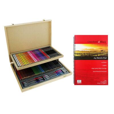 75 Piece Stationery Set and A4 Sketchbook Bundle image number 1