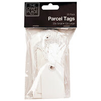 White Parcel Tags - 35 Pack