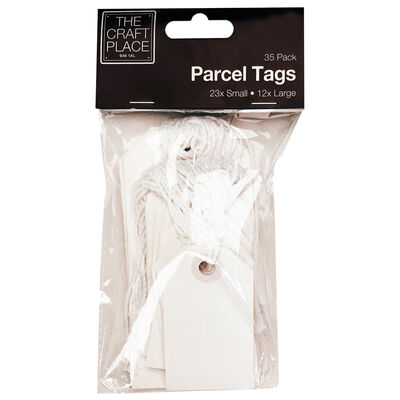 White Parcel Tags - 35 Pack image number 1