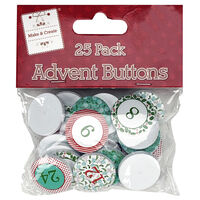 Advent Number Buttons: Pack of 25